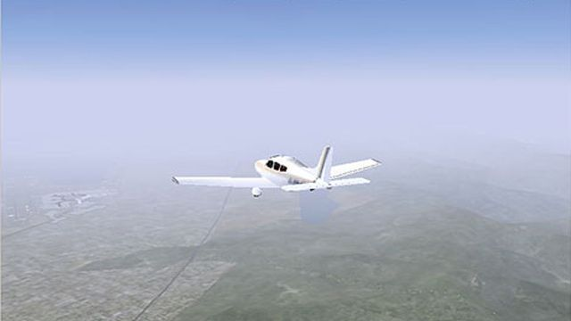 A fixed-wing aircraft in flight created by importing DATCOM aerodynamic coefficients.