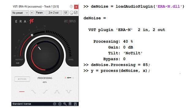 Example of external VST plugin for audio denoising (Accusonus ERA-N) and programmatic interface in MATLAB.