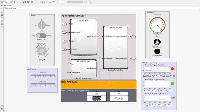 Simulation of compositions including input controls and Dashboard blocks