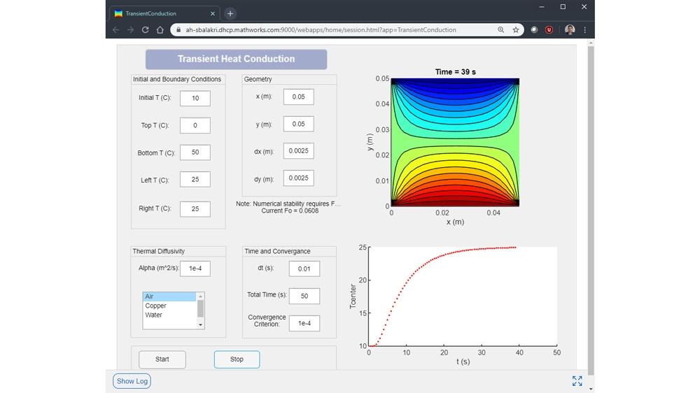 Transient Heat Conduction web app developedon Windows®andrunningonaLinux®server.