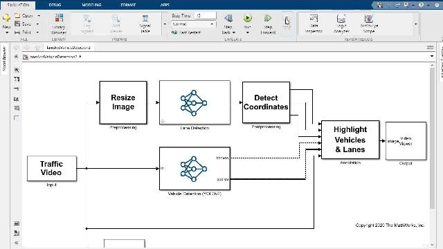Run simulations of lane and vehicle detectors using deep learning networks in Simulink on NVIDIA GPUs. With the same Simulink model, generate optimized CUDA code using cuDNN or TensorRT to target GPUs like NVIDIA Tesla and NVIDIA Jetson platforms.