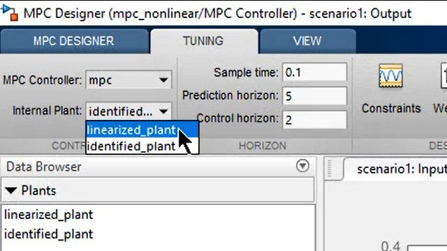 Specifying an internal plant model for a linear MPC design.