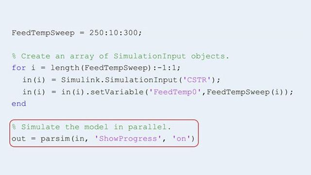 Use the parsim function to run multiple simulations in parallel.