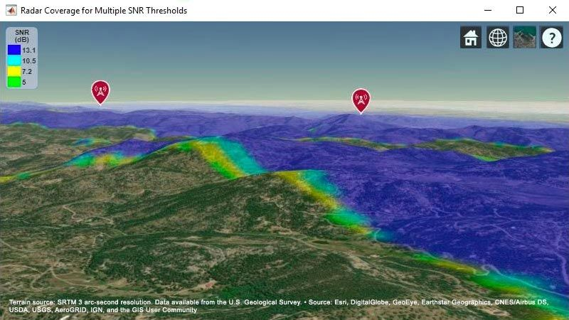 Terrain-based map showing combined target coverage area for two radar systems.