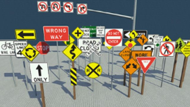 Library of road and traffic signs.