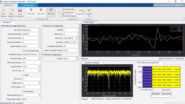 Simulate, analyze, and test the physical layer of WLAN communications systems using WLAN Toolbox.