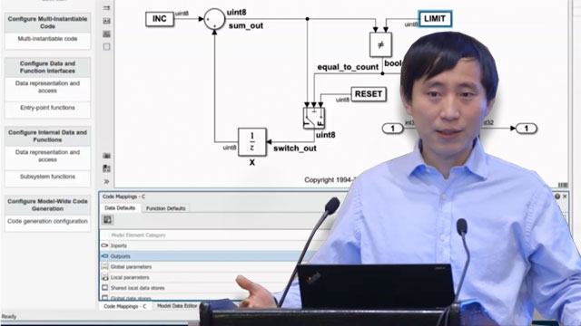 Watch how to quickly customize and generate code using Embedded Coder Quick Start, Code Perspective, and Embedded Coder Dictionary.