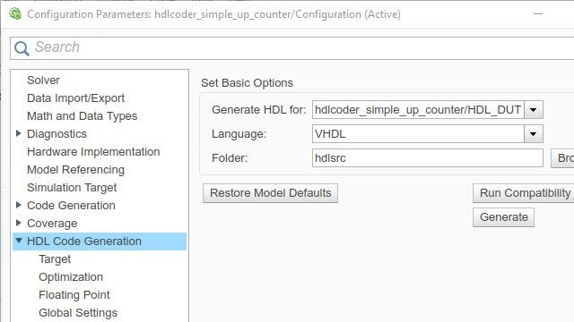 Generating HDL Code from Simulink