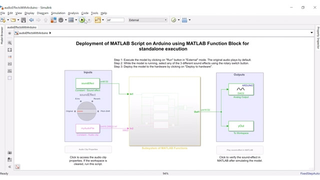 Design audio processing applications in MATLAB and then perform standalone deployment onto Arduino hardware using MATLAB Function blocks in Simulink. You can run the Simulink model in External Mode for tuning the algorithm and monitoring signals.