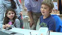 See how children at an educational workshop at Cambridge Science Centre program LEGO Mindstorm NXT robots to perform a series of tasks using Simulink .