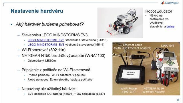 Toto video popisuje využitie podporného balíka Simulink Support Package for LEGO MINDSTORMS EV3 Hardware. Ukazuje ako nastaviť softvér, hardvér, príklady komunikácie so zariadením a riadenia robotov.