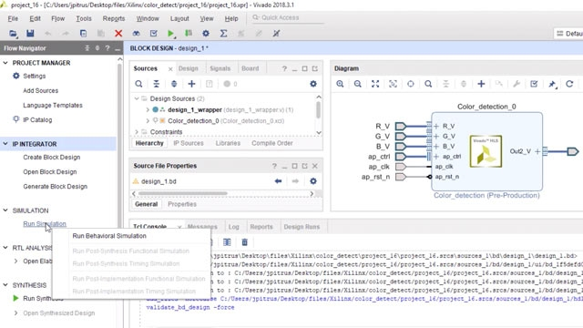 Import a color detection IP block and testbench into Vivado and perform design validation. Then create a standalone design, validate the design and run behavioral simulation.