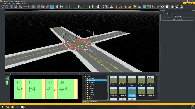 Learn how to create a road intersection with 4-way protected left turns in RoadRunner interactive editing software.
