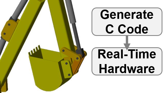 Convert a backhoe model to C code and simulate in a hardware-in-the-loop configuration. Simscape parameters are tuned on the real-time target.
